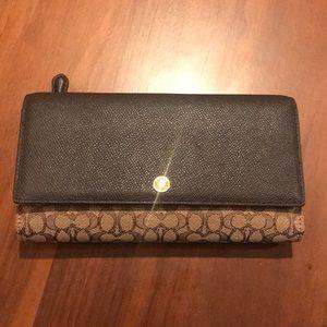 Coach signature checkbook wallet